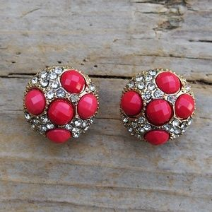 Pink Faceted Gems & Rhinestone Domed Earrings